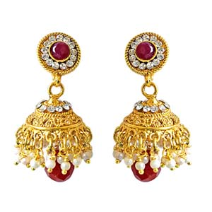 Traditional Copper Jhumki Earrings