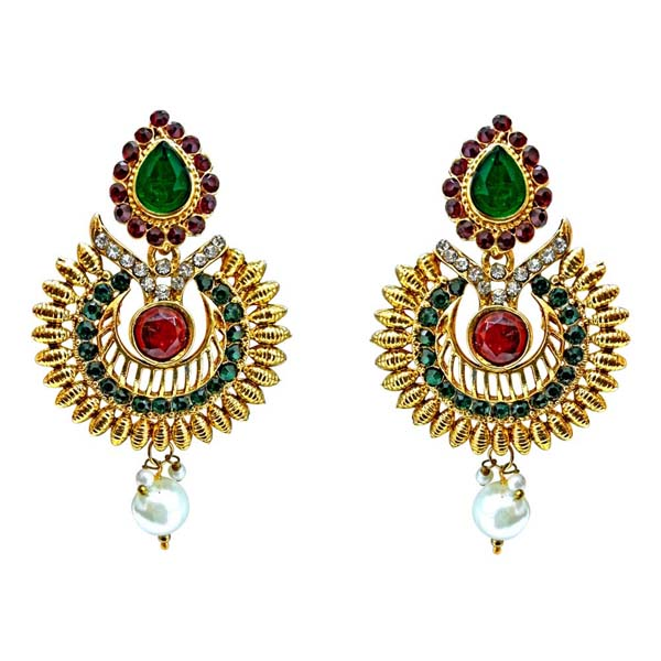 Gold Plated Earrings-Ethnic Drop Shaped Hanging Earrings