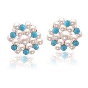 Pearl Earrings-Turquoise Pearl Magic
