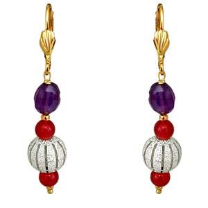 Gold Plated Earrings-Oval Ball Earrings