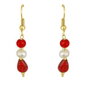 Precious Stone Earrings-Dangling Pearl & Red Stone Earrings