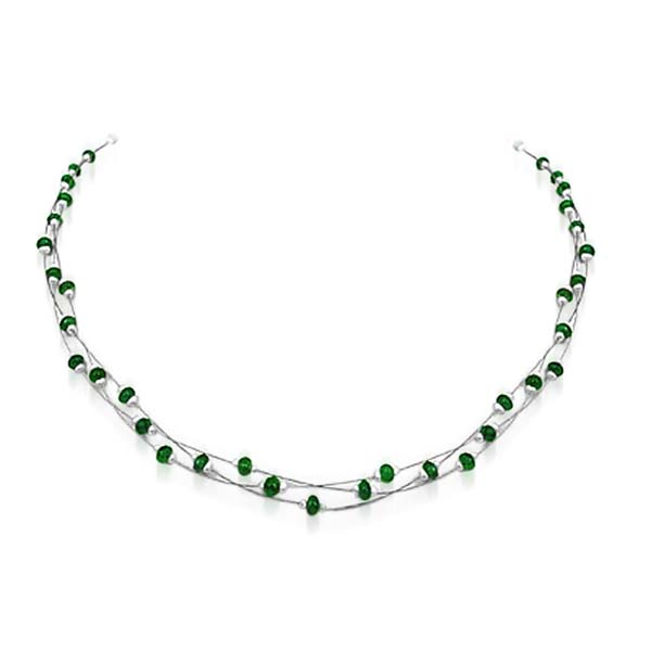 Three Lined Emerald Bead and Pearl Necklace