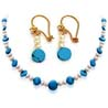 Single Line Pearl & Turquoise Necklace & Earrings Set