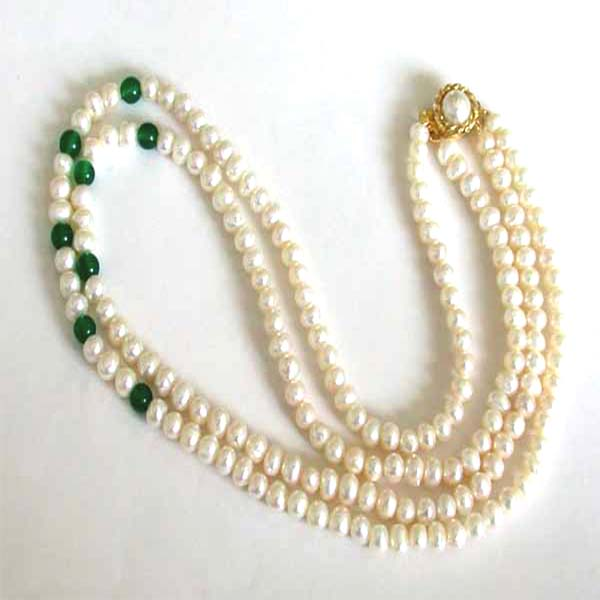 Two Line Round Pearl Necklace