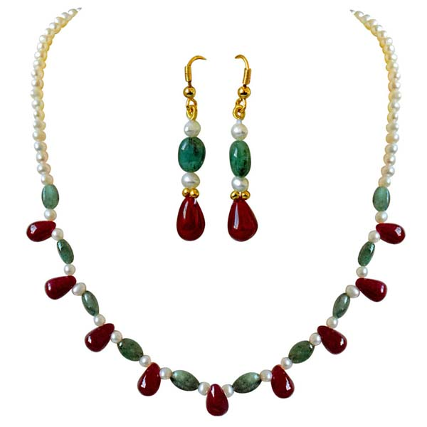 Real Oval Necklace Earrings Set