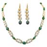 Natural Oval Emerald & Necklace & Earrings Set