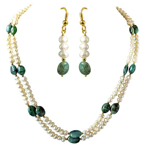 Real Oval Emerald Necklace & Hanging Earrings Set