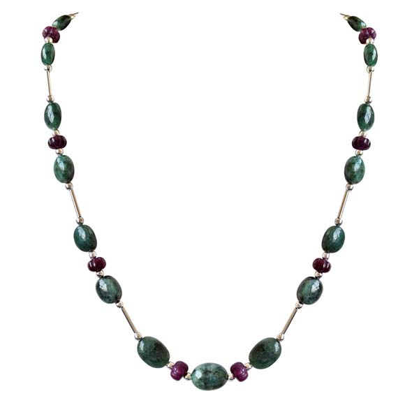 Single Line Pipe & Beads Necklace