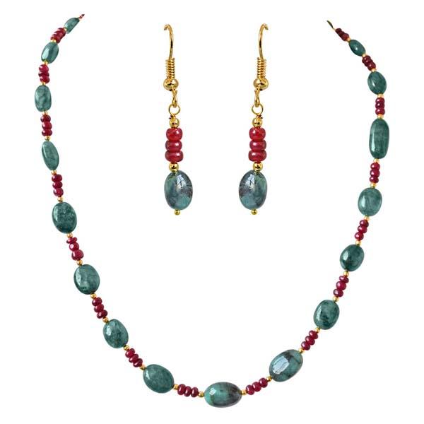 Single Line Real Oval Necklace & Earrings Set