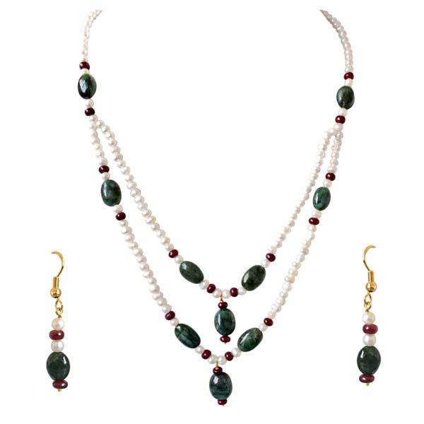 Real Oval Necklace & Earrings Set