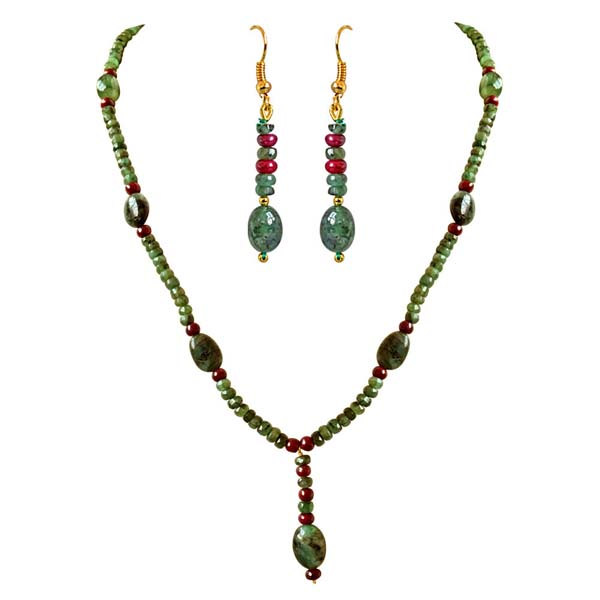 Real Oval Trendy Necklace & Earrings Set