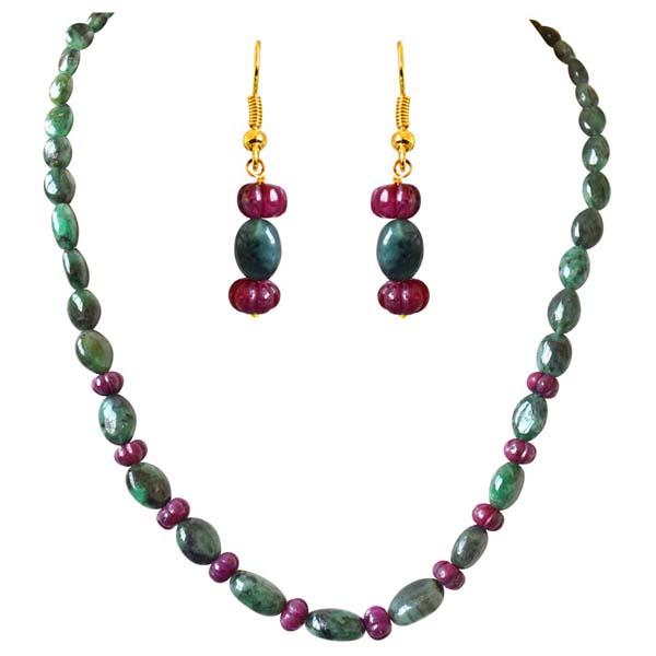 Precious Stone Sets-Flower Shaped Necklace Earrings Set