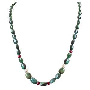 Precious Stone Necklaces-Single Line Oval Emerald Ball Necklace
