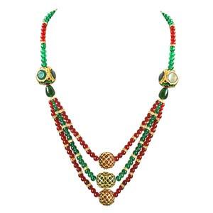 Precious Stone Necklaces-Round Coloured Stone Necklace
