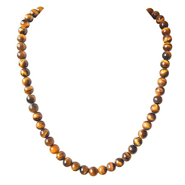 Single Line Real Brown Tiger Eye Necklace