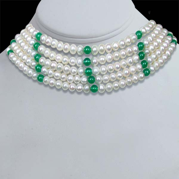 Five Line White Round Pearl Necklace