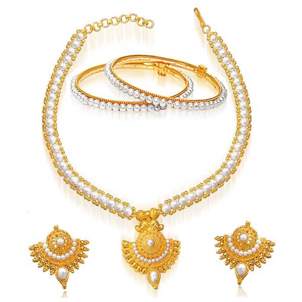 Gold Plated Pendant & Real Pearl Set