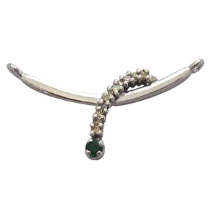 Diamond Pendants-Real Diamond & Emerald Silver Pendant
