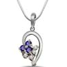 Sapphire, Diamond & Sterling Silver Pendant