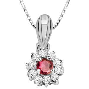 Diamond Pendants-Ruby, Diamond & Sterling Silver Pendant