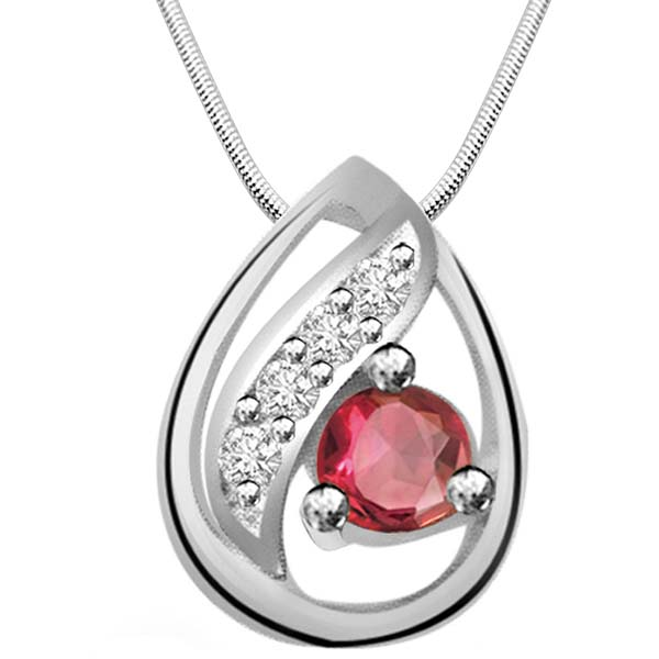 Red Ruby, Diamond & Sterling Silver Pendant