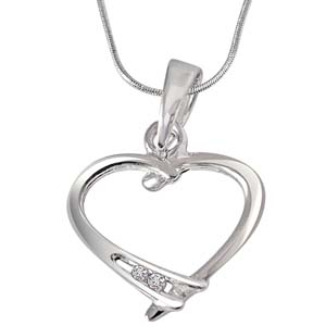 Diamond Pendants-Diamond & Sterling Silver Pendant with Silver Finished Chain