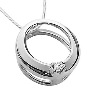 Diamond Pendants-Diamond & Sterling Silver Pendant with Chain