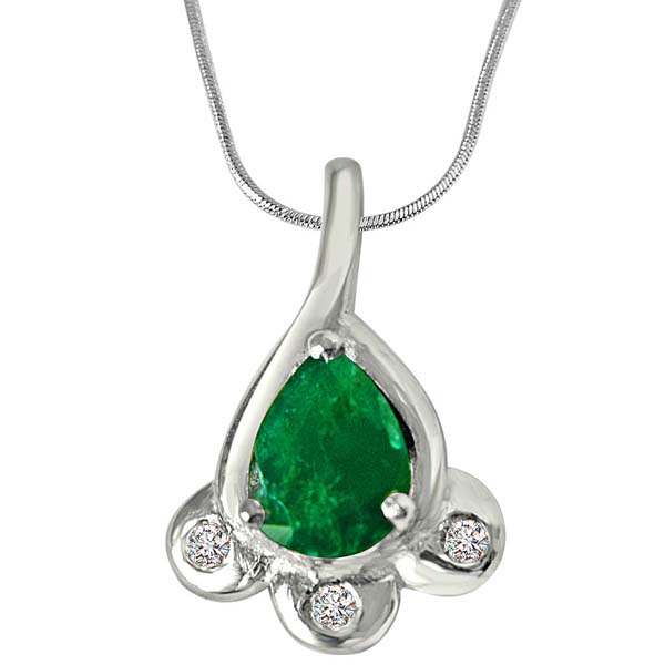 Diamond Pendants-Diamond & Green Emerald Pendant in Sterling Silver