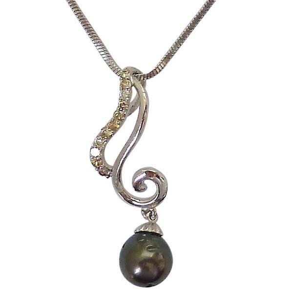 Diamond Pendants-Diamond & Tahitian Black Pearl Low Cost Pendant