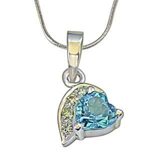 Diamond Pendants-Heart Shaped Swiss Blue Topaz & Diamond Silver Pendant