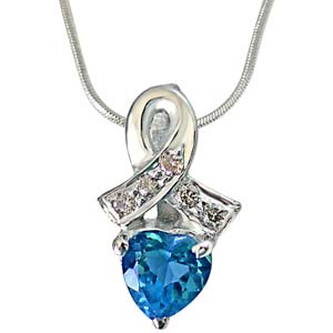Diamond Pendants-Real Diamond & Heart Shaped Blue Topaz Pendant