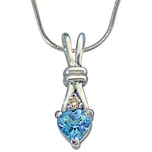 Diamond Pendants-Single Diamond with Heart Shape Swiss Blue Topaz Silver Pendant