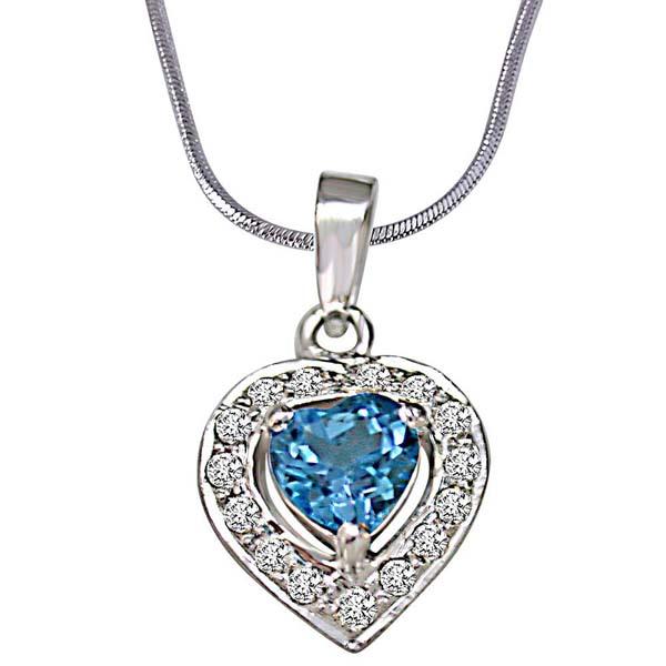 Heart Shaped Blue Topaz & Diamond Pendant