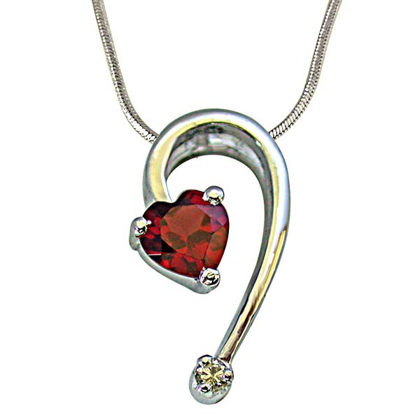 Stylish Heart Shape Red Garnet & Diamond Pendant