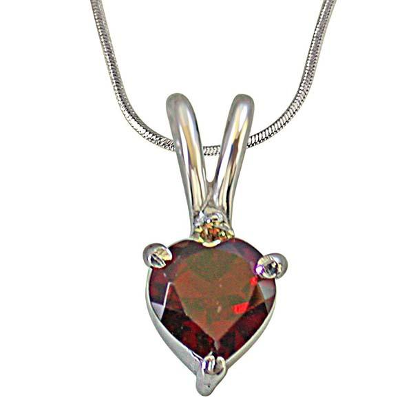 Diamond & Heart Shape Garnet in Silver Pendant