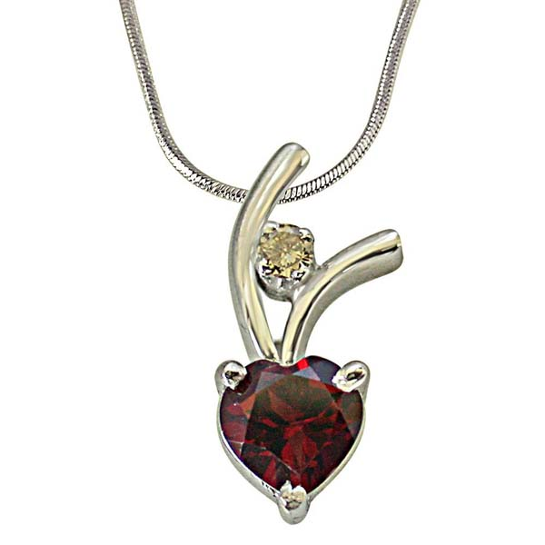 Diamond Pendants-Diamond & Heart Shaped Silver Pendant