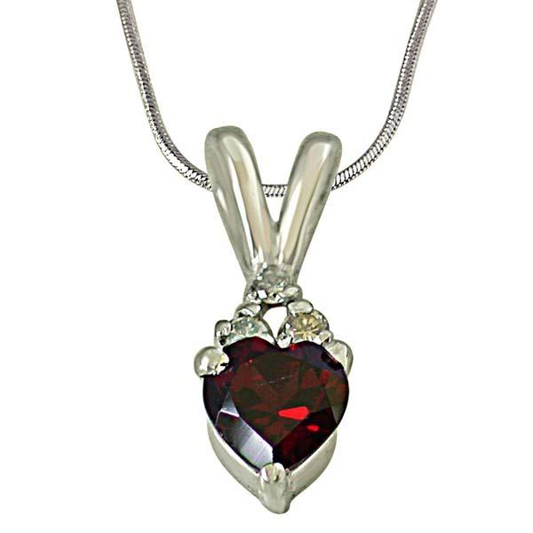 Diamond Heart Shape Silver Pendant