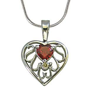 Diamond Pendants-Diamond & Heart Garnet Silver Pendant