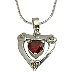 Diamond Pendants-Diamond in Silver with Heart Shape Garnet Pendant