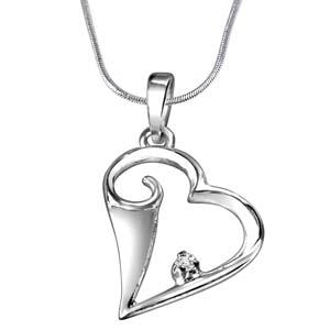 Diamond Pendants-Diamond & Sterling Silver Pendant