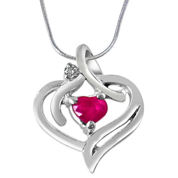 Diamond, Red Ruby & Sterling Silver Pendant