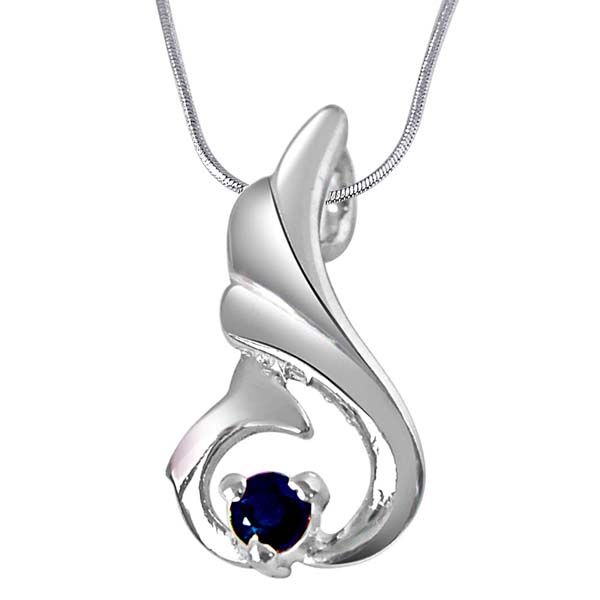 Blue Sapphire & Sterling Silver Pendant