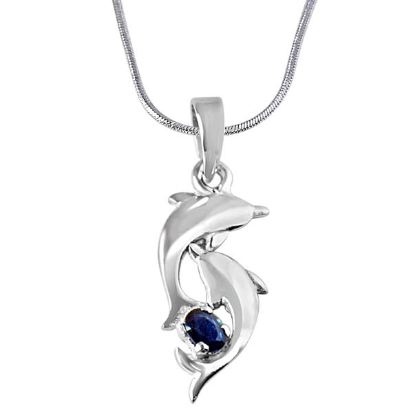 Blue Oval Sapphire & Sterling Silver Pendant