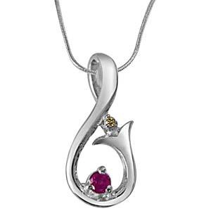 Diamond Pendants-Diamond, Ruby & Sterling Silver Pendant