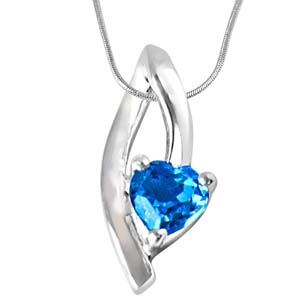 Silver Pendants-Heart Shaped Blue Topaz in Sterling Silver Pendant