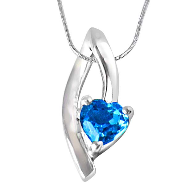 Heart Shaped Blue Topaz in Sterling Silver Pendant