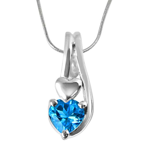 Heart Shaped Blue Topaz Set in Sterling Silver Pendant