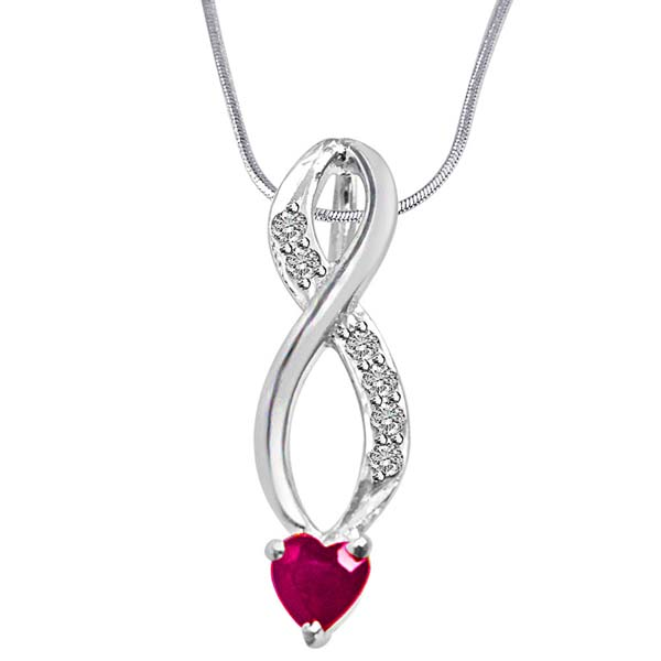 Diamond Pendants-Diamond, Red Ruby & Sterling Silver Pendant