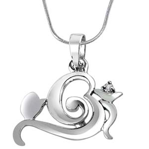 Gift Diamond & Sterling Silver Pendant on Rakhi