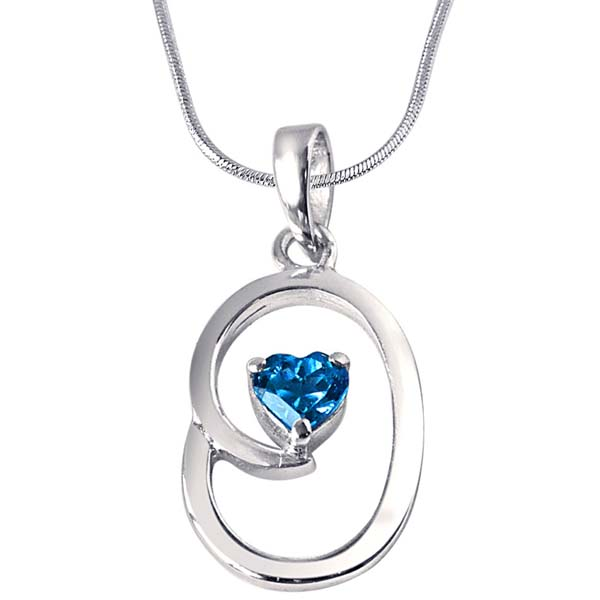 Heart Shaped Blue Topaz & Sterling Silver Pendant